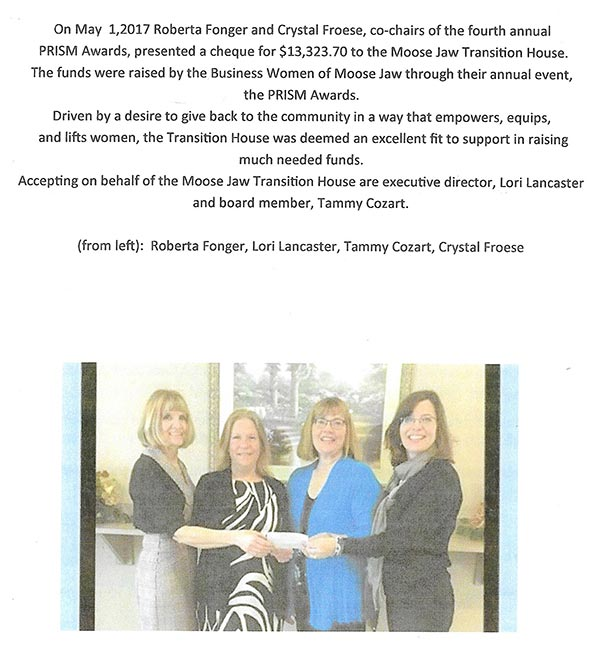 thank you prisim business women moose jaw
